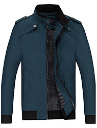 Men's Casual/Daily Vintage / Simple / Street chic Jackets,Solid Stand Long Sleeve Fall / Winter Blue / Black / Green / YellowCotton /