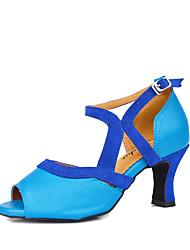 Sapatos de Dança(Preto / Azul) -Feminino-Personalizável-Latina