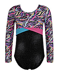 Gold Foiled Long Sleeve Toddler Girls Ballet Leotards Athletic Dance Gymnastics Leotards Acrobatics for 5-14 Y Kids