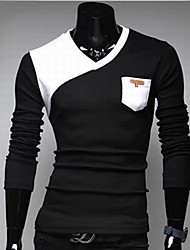 Men's Patchwork Black/White T-shirt,Casual V Neck Long Sleeve Pocket