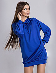 Women's Going out / Casual/Daily / Holiday Sexy / Simple / Street chic Loose Dress,Solid Hooded Above Knee Long Sleeve Blue Polyester
