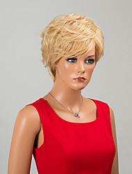 élégante capless courte perruques de cheveux humains onduleux naturel