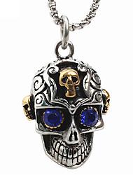 estilo punk pingente de colar de aço inoxidável 316L retro escultura em forma do crânio de jóias gema azul dos homens
