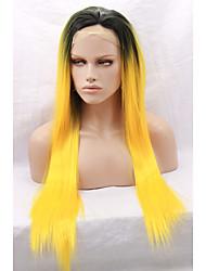 cheveux synthétiques racines sombres OMBRE perruque jaune orange pour les femmes afro-américaines avant perruques glueless synthétique