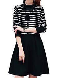 Mujer Línea A / Vaina Vestido Noche / Casual/Diario Chic de Calle,A Rayas Escote Chino Sobre la rodilla Manga Larga NegroAlgodón /