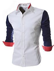 Men's Formal / Work Simple Shirt,Color Block Shirt Collar Long Sleeve Blue / Black Cotton