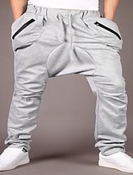 Masculino Solto Chinos / Calças Esportivas Calças-Cor Única Casual / Esportivo Simples / Activo Cintura Média Com Cordão Algodão Stretchy