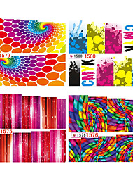1sheets Colorful Geometry Water Transfer Nail Stickers