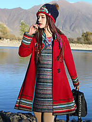 Our Story Women's Casual/Daily Boho Pea CoatsEmbroidered Stand Long Sleeve Winter Red Cotton / Polyester