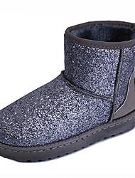 Women's Boots Fall Winter Comfort Fur Glitter Outdoor Casual Flat Heel Flower Black Pink Silver Walking