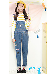 Women's Slim Jeans Pants,Casual/Daily Cute Solid Mid Rise Button Cotton Micro-elastic Summer / Fall