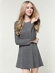 Women's Going out / Beach / Holiday Sexy / Cute / Chinoiserie Sweater Dress,Solid Round Neck Knee-length Long Sleeve Gray PolyesterFall /