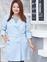 MsShe Women's Plus Size / Casual/Daily Simple Trench CoatSolid Notch Lapel Long Sleeve Fall Blue / Yellow Polyester Medium