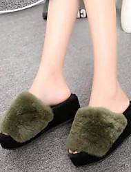 Women's Slippers & Flip-Flops Fall / Winter Slingback Fur Casual Wedge Heel Others Black / Green / Gray Others