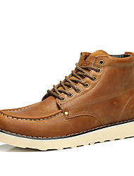 Men's Athletic Shoes Winter Comfort Leather Outdoor Casual Athletic Flat Heel Others Yellow Coffee