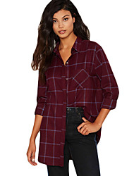 Women's Casual/Daily Simple Fall Shirt,Striped Shirt Collar Long Sleeve Red Cotton Medium