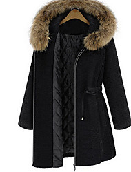 Women's Casual/Daily / Party/Cocktail Street chic / Chinoiserie Coat,Solid Hooded Long Sleeve Fall / Winter Black Wool Thick