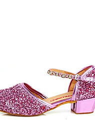Latin Kid's Dance Shoes Sandals Paillette Rhinestone Low Heel Gold/Silver/Purple