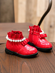 Girl's Boots Comfort Patent Leather Casual Black / Red