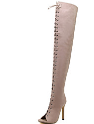Women's Boots Spring / Summer / Fall Gladiator Fur Party & Evening / Dress / Casual Stiletto Heel Black / Beige