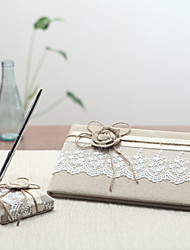 Linen Garden ThemeWithRibbons Guest Book / Pen Set