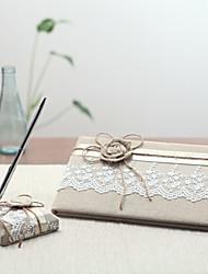 Linge Thème de jardinWithRubans Livre d'or Ensemble de stylos