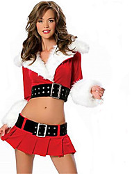 Cosplay Costumes Santa Suits Movie Cosplay Red Solid Top / Skirt Christmas Female Polyester