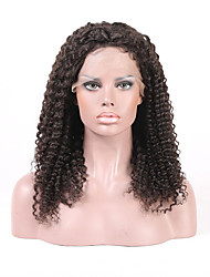 Natural Looking Glueless Human Hair Lace Front Wigs Brazilian Virgin Hair Soft Kinky Curly With Baby Hair 130% Density Natural Color Medium Size Cap