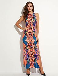 Mulheres Bandagem Vestido,Casual Vintage Estampado Decote Redondo Longo Sem Manga Laranja Poliéster Verão