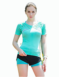 Corrida Camiseta Mulheres Manga Curta Respirável / Secagem Rápida / Confortável Náilon Chinês Ioga / Esportes Relaxantes / CorridaWear