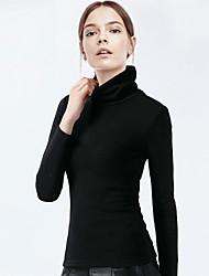 Damen Solide Einfach / Street Schick Lässig/Alltäglich / Ausgehen T-shirt,Rollkragen Frühling / Herbst LangarmBlau / Rosa / Weiß /