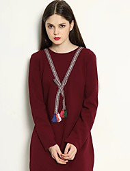 Women's Going out / Casual/Daily Sexy / Vintage Sheath Dress,Solid Round Neck Knee-length Long Sleeve Red / Black Others Fall / WinterMid