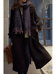 Women's Casual/Daily Simple Coat,Solid Long Sleeve Black Polyester