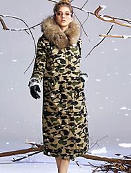 Пальто Простое Обычная Пуховик Женский,камуфляж На каждый день Хлопок Пух белой утки,Длинный рукав Зеленый