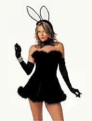 Cosplay Costumes Bunny Girls Movie Cosplay Black Solid Dress / Gloves / Headwear Halloween / Carnival Female Polyester