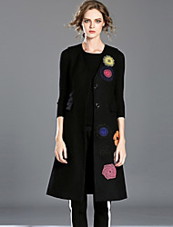 INPLUS LADY Women's Casual/Daily Simple Trench CoatEmbroidered Notch Lapel Sleeveless Fall Black Wool / Cotton Medium