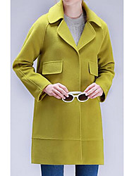 Women's Casual/Daily Simple Coat,Solid Long Sleeve Blue / Green / Purple Polyester