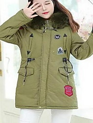 Women's Long Padded Coat,Sexy Going out Solid-Cotton Cotton Long Sleeve Hooded Black / Green