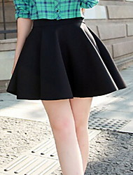 Women's Above Knee Skirts,Simple Swing Pleated Solid