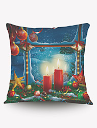 Romantic Christmas Candles Pillow Cover Romantic Christmas Gift Series Pillow Cloth Material