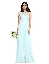 2017 Lanting Bride® Floor-length Lace Elegant Bridesmaid Dress - One Shoulder with Sash