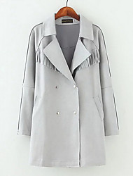 Women's Going out Simple Trench Coat,Solid Shirt Collar Long Sleeve Winter Multi-color Polyester Thick
