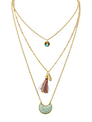 Boho Multilayers Turquoise Tassel Long Pendant Necklaces