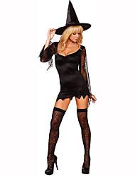 Sorcier/Sorcière Fête / Célébration Déguisement Halloween Noir Couleur Pleine / Lace Robe / Chapeau Féminin Polyester