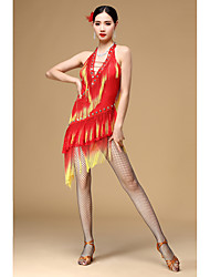 Dança Latina Vestidos Mulheres Actuação Poliéster Borla(s) 1 Peça Sem Mangas Alto Vestidos M=100CM;L=100CM