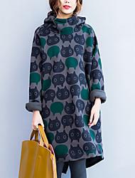 Ample Robe Femme Décontracté / Quotidien Mignon,Motif Animal Col Arrondi Au dessus du genou Manches Longues Gris Coton Automne / Hiver
