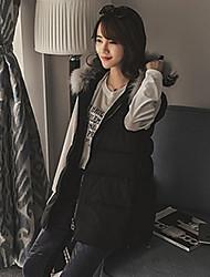 # 9164 Winter new Korean Fan was thin thick jacket pregnant women hooded vest raccoon fur balls