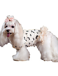 Dog Coat White Dog Clothes Winter / Spring/Fall Bowknot Keep Warm