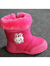Girl's Boots Winter Others Cotton Casual Flat Heel Ruched Red White Gray Others