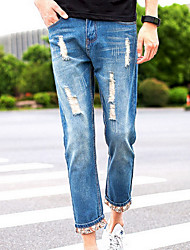 Men's Slim Jeans Pants,Casual/Daily Simple Solid Mid Rise Zipper Polyester Micro-elastic Spring / Fall